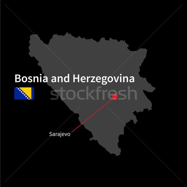 Detallado mapa Bosnia Herzegovina ciudad bandera negro Foto stock © tkacchuk