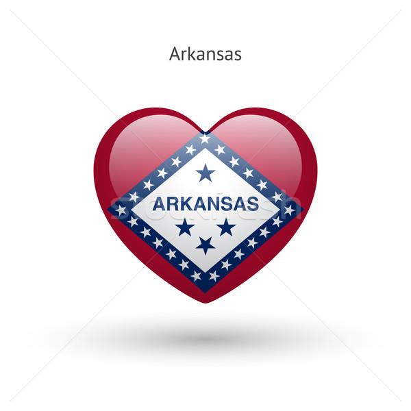 Szeretet Arkansas szimbólum szív zászló ikon Stock fotó © tkacchuk