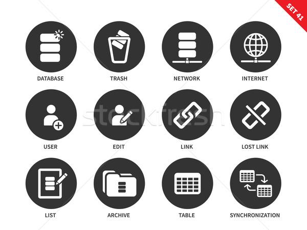 Database icone bianco social network vettore Foto d'archivio © tkacchuk