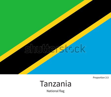 National flag of Tanzania with correct proportions, element, colors Stock photo © tkacchuk