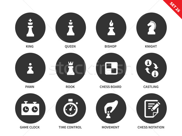 Chess figures icons on white background Stock photo © tkacchuk