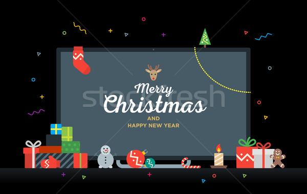 Tv metin neşeli Noel happy new year hediyeler Stok fotoğraf © tkacchuk