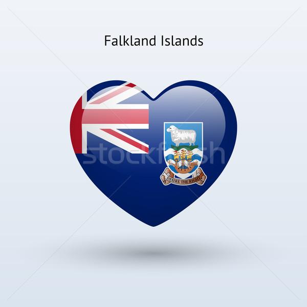 Szeretet Falkland-szigetek szimbólum szív zászló ikon Stock fotó © tkacchuk
