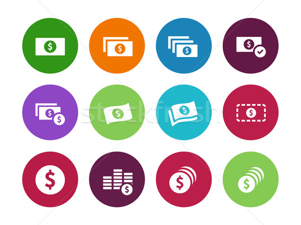 Dollar Banknote circle icons on white background. Stock photo © tkacchuk