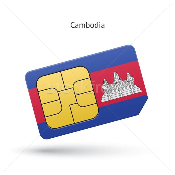 Cambodia mobile phone sim card with flag. Stock photo © tkacchuk