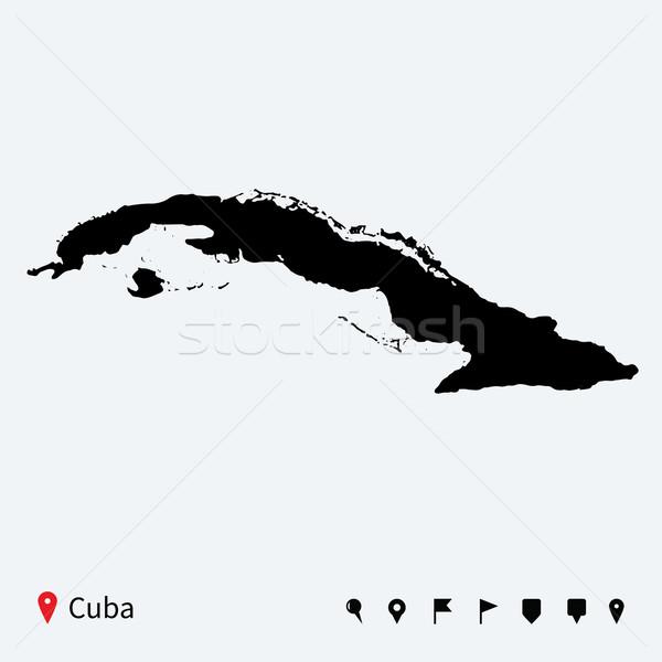 élevé détaillée vecteur carte Cuba navigation Photo stock © tkacchuk