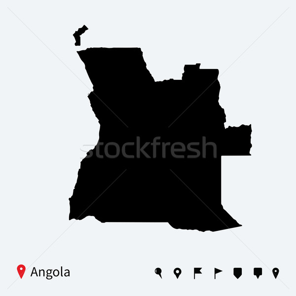 High detailed vector map of Angola with navigation pins. Stock photo © tkacchuk