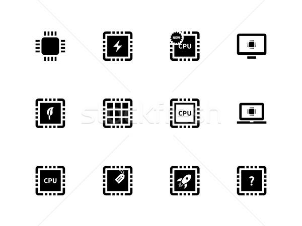 Cpu microprocessor iconen witte ontwerp technologie Stockfoto © tkacchuk