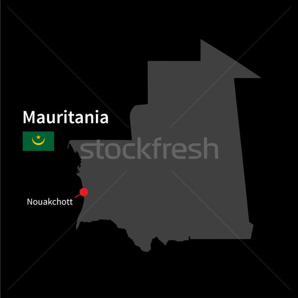 詳しい 地図 モーリタニア 市 フラグ 黒 ストックフォト © tkacchuk