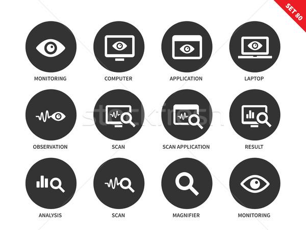 Monitoring icons on white background Stock photo © tkacchuk