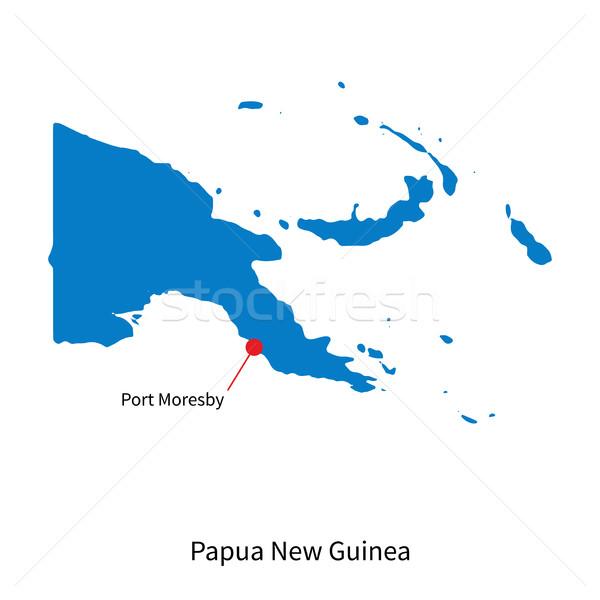 карта Папуа-Новая Гвинея город порта подробный вектора Сток-фото © tkacchuk