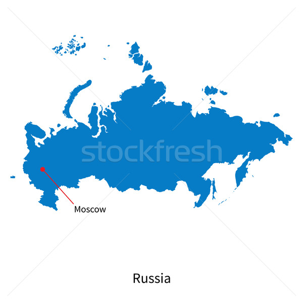 Detailed vector map of Russia and capital city Moscow Stock photo © tkacchuk