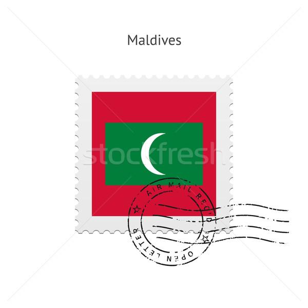 Мальдивы флаг почтовая марка белый знак письме Сток-фото © tkacchuk