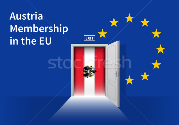 European Union flag wall with Austria flag door. EU Flag. Stock photo © tkacchuk