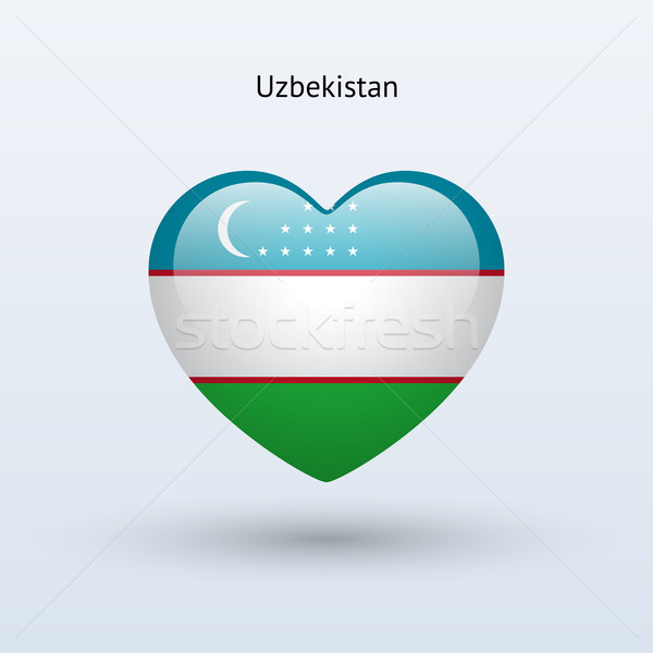 Szeretet Üzbegisztán szimbólum szív zászló ikon Stock fotó © tkacchuk
