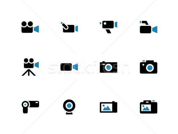 Camera duotone icons on white background. Stock photo © tkacchuk