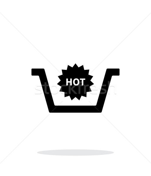 Stock fotó: Kosár · forró · termék · egyszerű · ikon · fehér