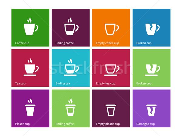 Сток-фото: чашку · кофе · чай · кружка · иконки · цвета · строительство