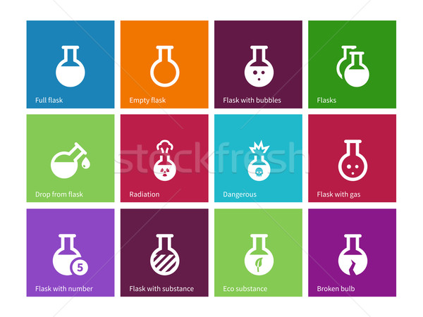 Chemical bulb icons on color background. Stock photo © tkacchuk