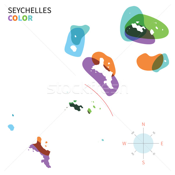 Stock photo: Abstract vector color map of Seychelles with transparent paint effect.