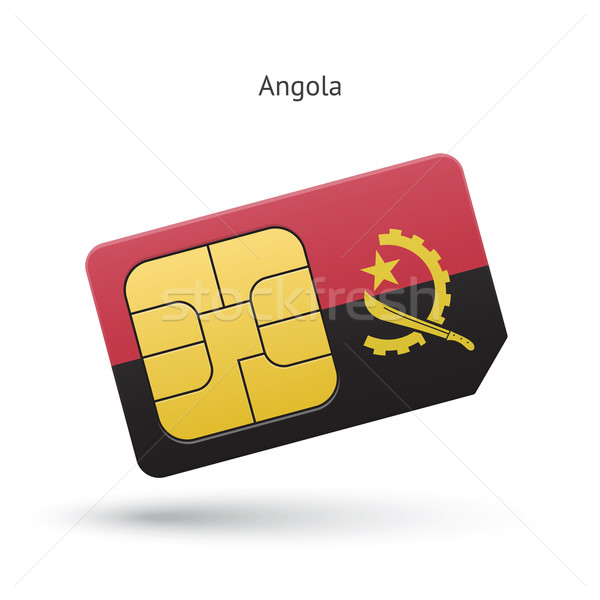 Angola mobile phone sim card with flag. Stock photo © tkacchuk
