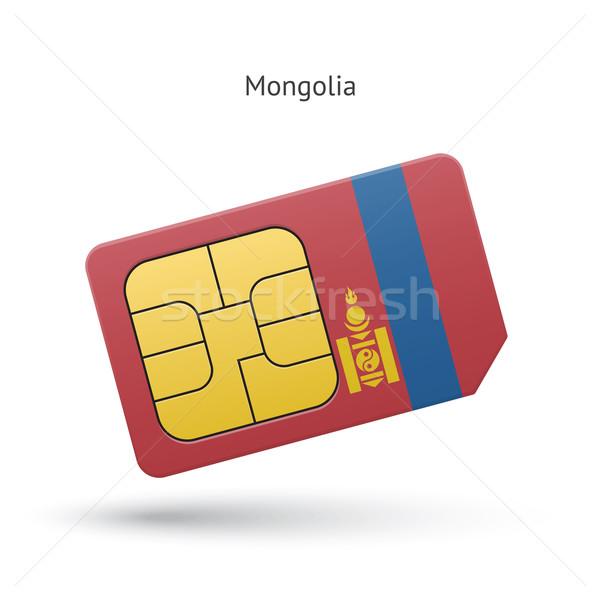 Mongolia mobile phone sim card with flag. Stock photo © tkacchuk