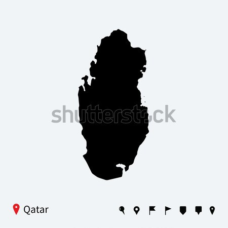 High detailed vector map of Qatar with navigation pins. Stock photo © tkacchuk