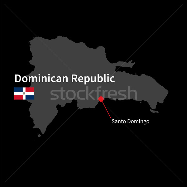Stock photo: Detailed map of Dominican Republic and capital city Santo Domingo with flag on black background