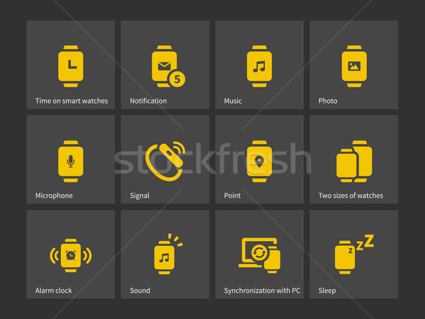 Smart watches notifications and synchronization icons. Stock photo © tkacchuk