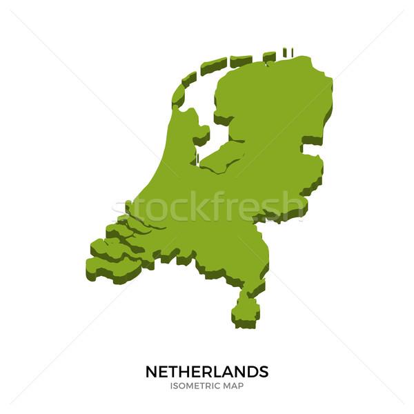 Isometrische kaart Nederland gedetailleerd geïsoleerd 3D Stockfoto © tkacchuk