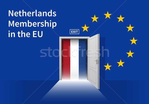 Européenne Union pavillon mur porte Photo stock © tkacchuk