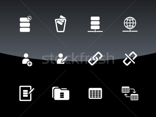 Foto stock: Banco · de · dados · ícones · preto · projeto · servidor · segurança