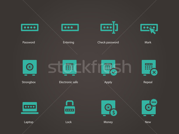 Senha ícones computador projeto janela segurança Foto stock © tkacchuk