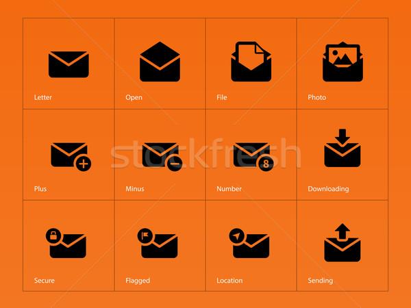 Mail ikona pomarańczowy streszczenie projektu internetowych Zdjęcia stock © tkacchuk