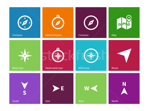 Compass icons on color background. Stock photo © tkacchuk