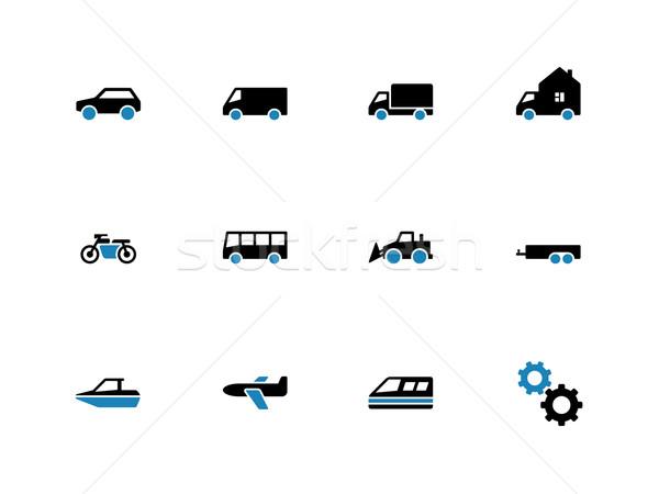 Cars duotone icons on white background. Stock photo © tkacchuk