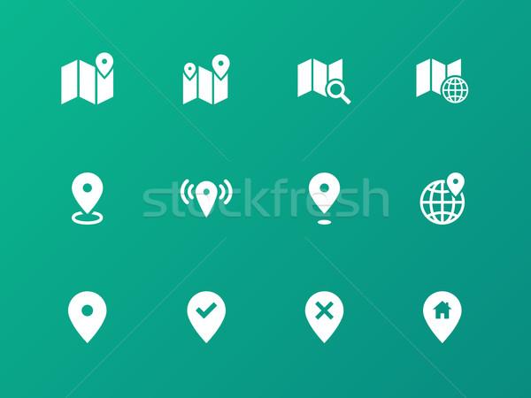 Mapa iconos verde GPS navegación calle Foto stock © tkacchuk