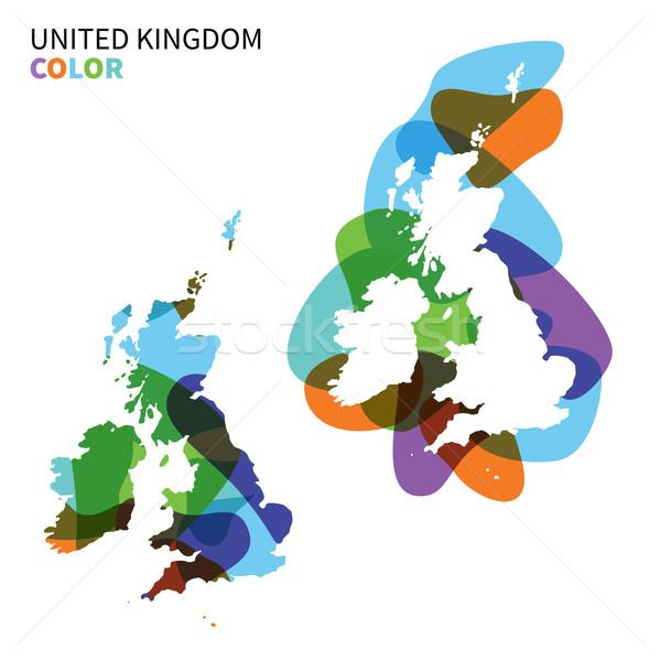 Abstract vector kaart Verenigd Koninkrijk geïsoleerd witte Stockfoto © tkacchuk