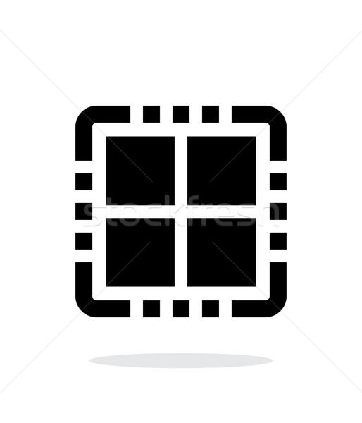 Foto stock: Núcleo · CPU · simple · icono · blanco · signo