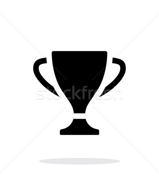 Trofeum ikona biały sylwetka sukces kubek Zdjęcia stock © tkacchuk