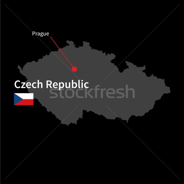 Foto stock: Detalhado · mapa · República · Checa · cidade · Praga · bandeira