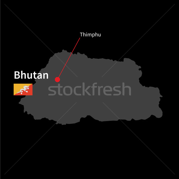 Detailed map of Bhutan and capital city Thimphu with flag on black background Stock photo © tkacchuk