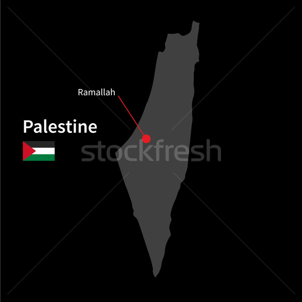 Detailed map of Palestine and capital city Ramallah with flag on black background Stock photo © tkacchuk