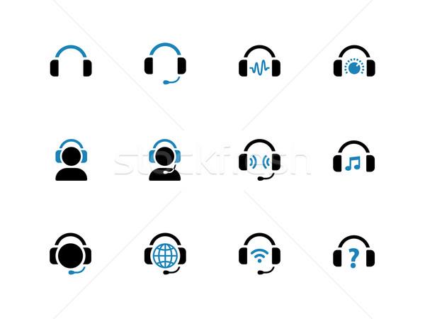 Headphone duotone icons on white background. Stock photo © tkacchuk
