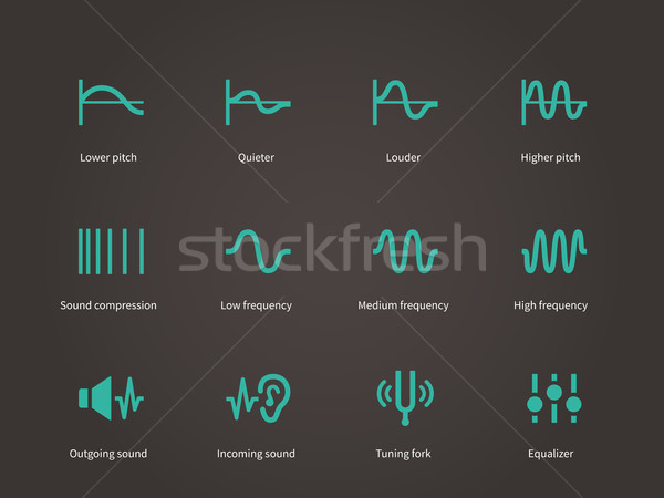 Stock photo: Sound compression and audio waves icons set.