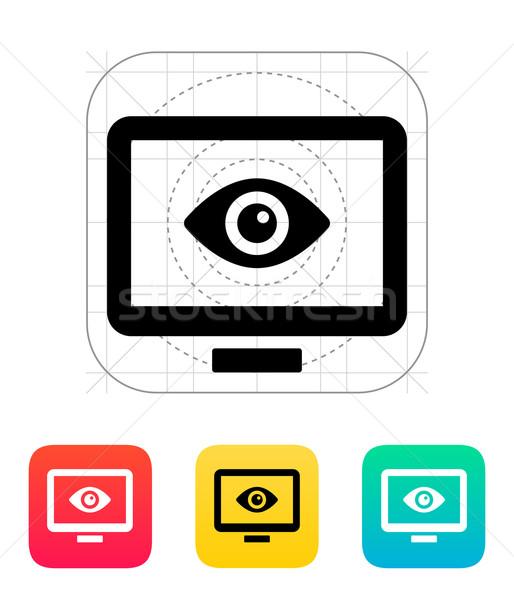 コンピュータ モニタリング アイコン 眼 抽象的な 警察 ストックフォト © tkacchuk