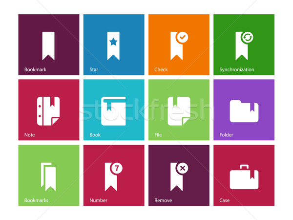 Bookmark, tag, favorite icons on color background. Stock photo © tkacchuk