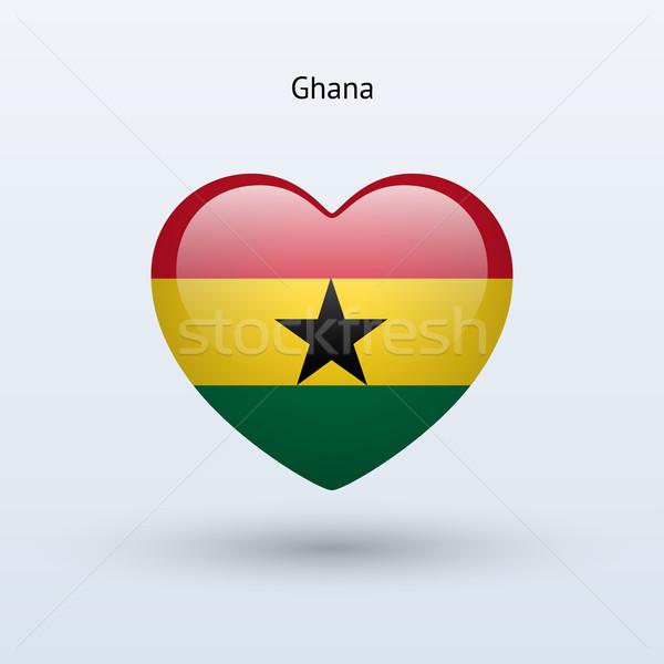 Love Ghana symbol. Heart flag icon. Stock photo © tkacchuk
