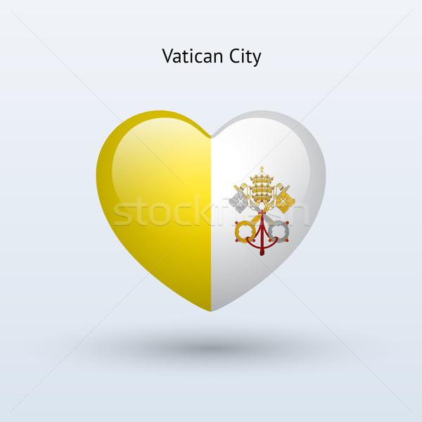 Miłości Watykan symbol serca banderą ikona Zdjęcia stock © tkacchuk