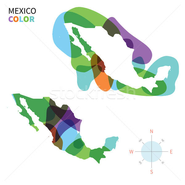Abstract vector color map of Mexico with transparent paint effect. Stock photo © tkacchuk